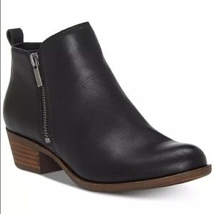 Lucky Brand Basel Leather Black Bootie Size 10